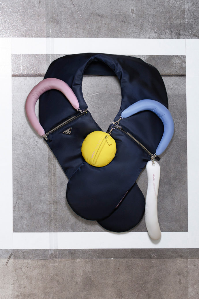 """yooo bag""/ ""daln bag"" by Kazuyo Sejima is neck pillow and shoulder bag in one."
