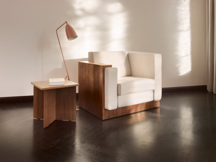 "Single Seat: ""Alpha Seating"" also makes a good figure as an armchair with veneered body and armrest."