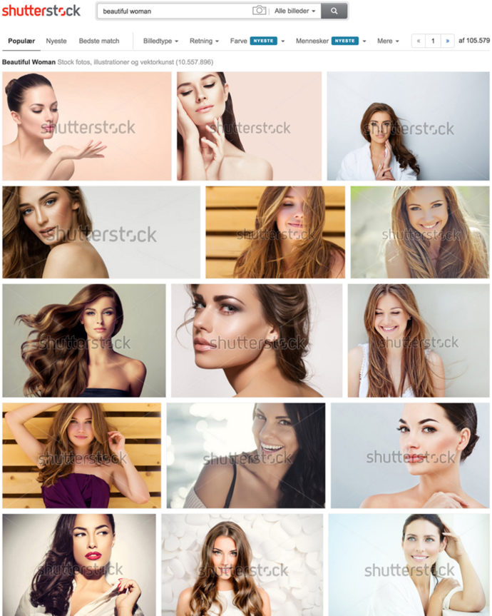 "Blow-dry curls, Make up and flawless faces: The search result for ""beautiful women"" is clearly defined by Shutterstock."
