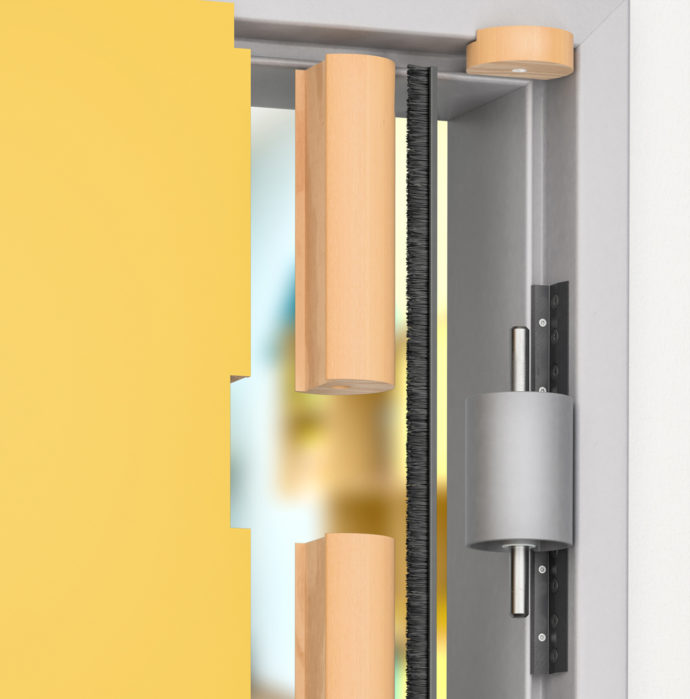 The hinge system with finger-trap protection is an all-rounder for use with wooden, aluminum and steel hinges in rebated or unrebated doors.