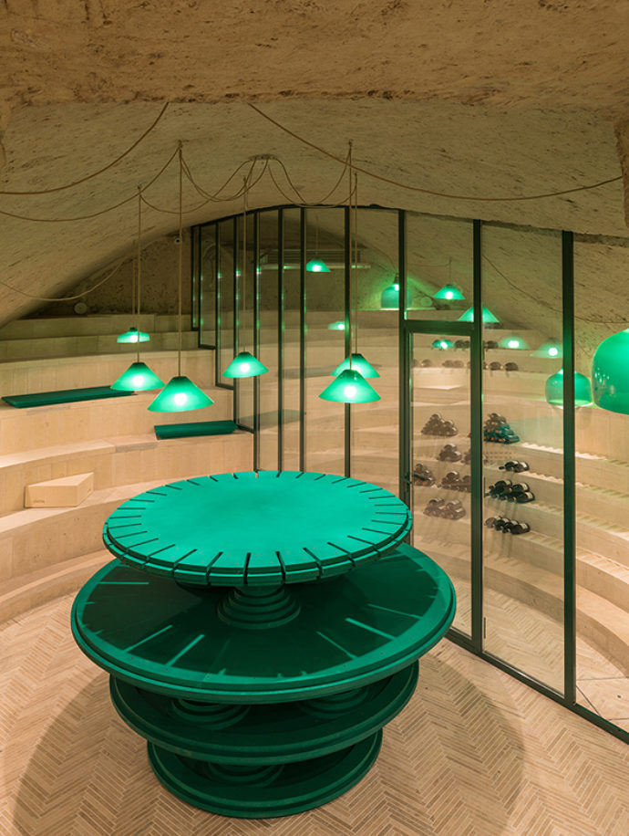 Green center piece in the wine cellar