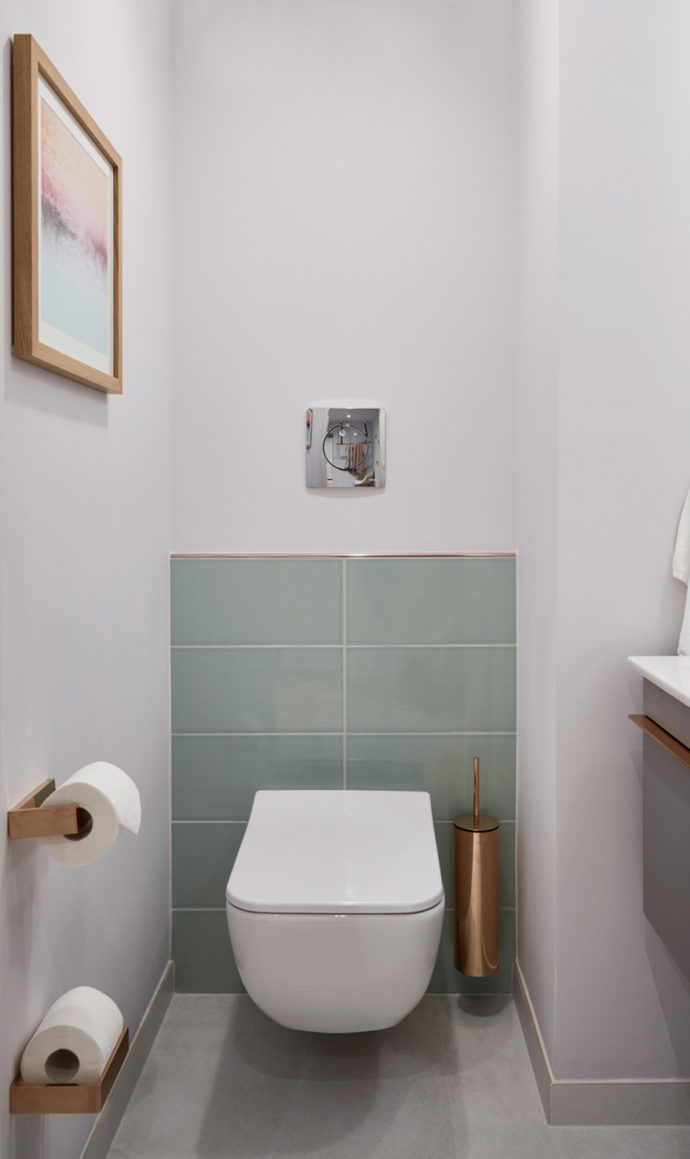 "The separate guest toilets features the DirectFlush WC from Villeroy&Boch's ""Venticello"" collection as well as wall tiles in calm color tones ""White Poplar"" and ""Frozen Lake""."