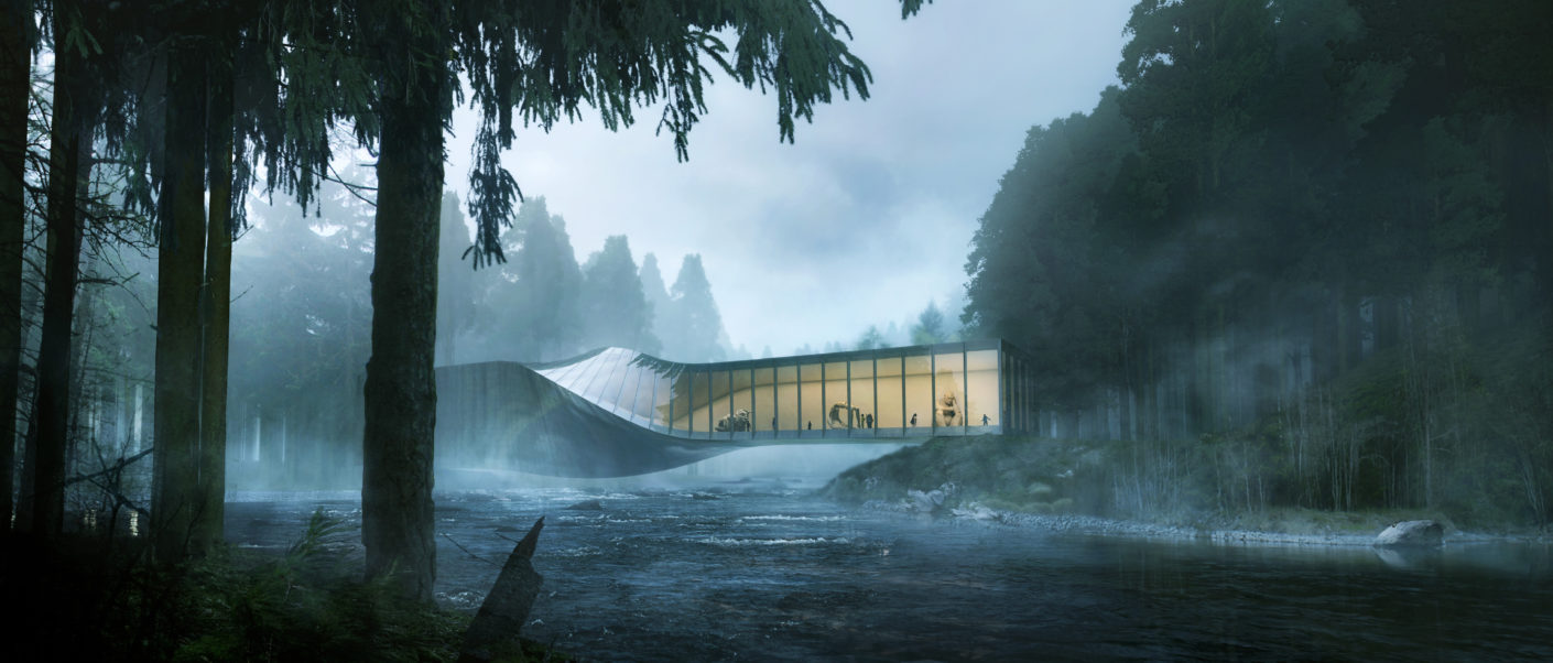 Museum über einem Fluss, Entwurf BIG