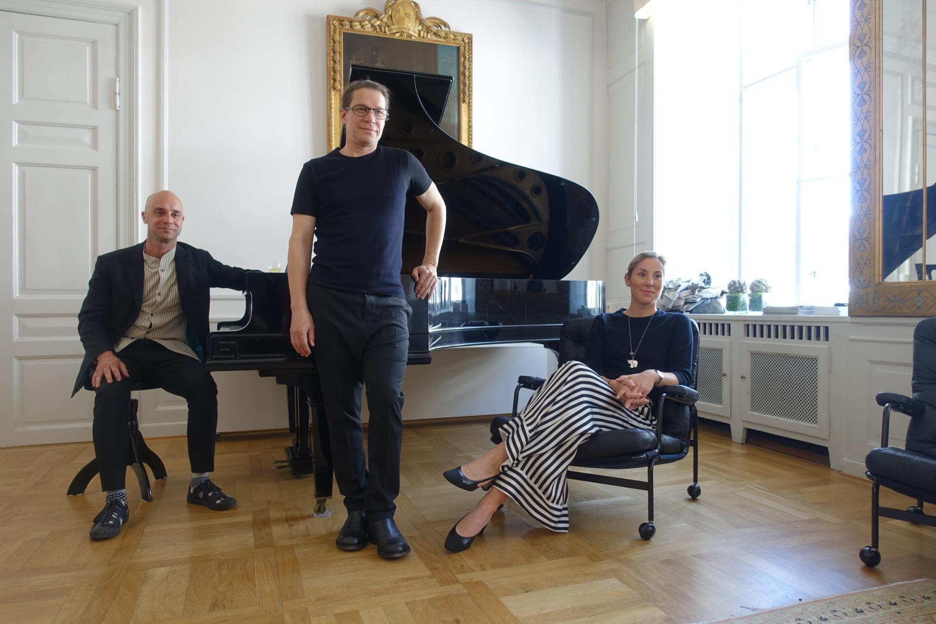 Mårten Claesson and Ola Rune from Claesson Koivisto Rune and DUX President Charlotte Ljung