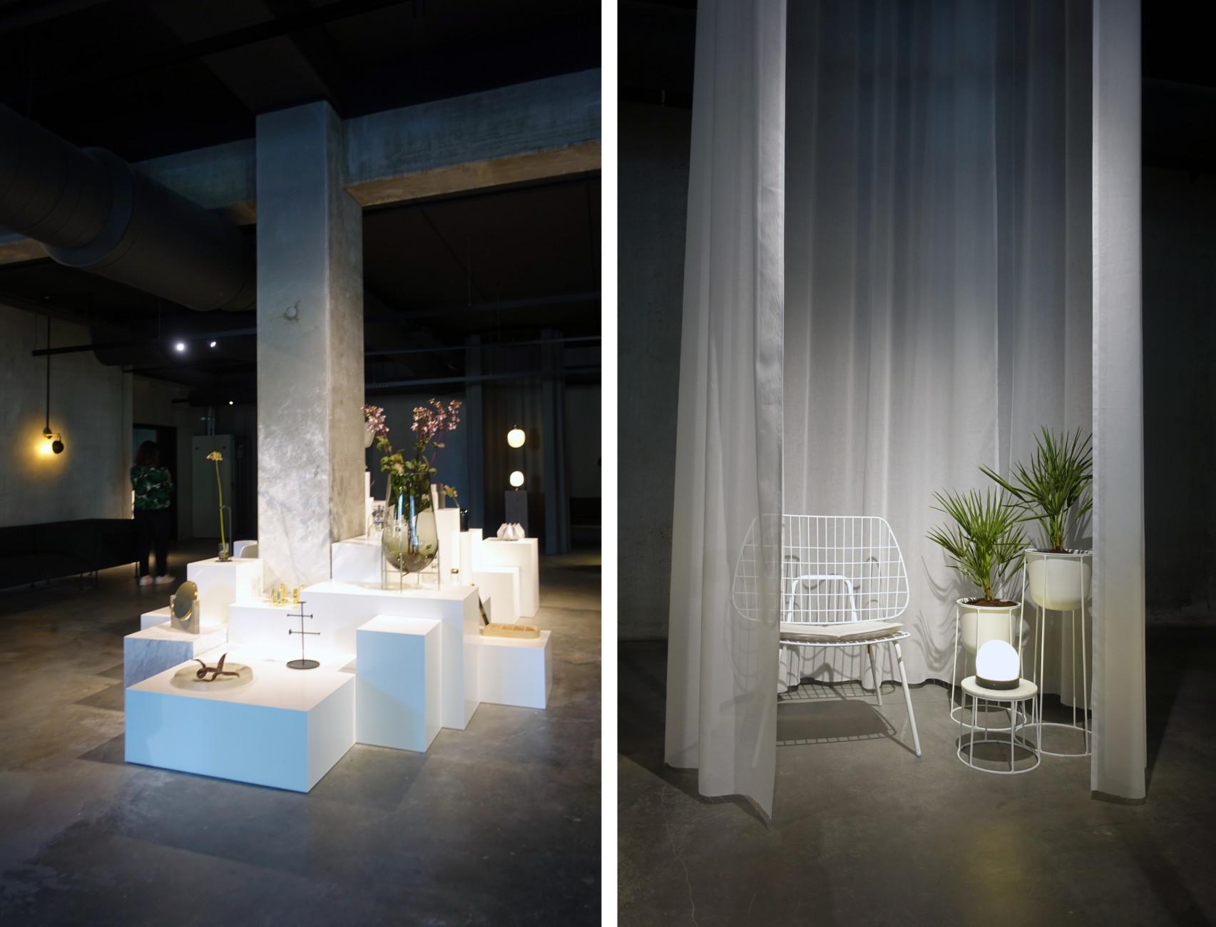 Menu showroom in Copenhagen Nordhavn.   Chair: WM String Lounge Chair (Design: Studio WM)  Planter: Wire Pot (Design: Norm Architects)