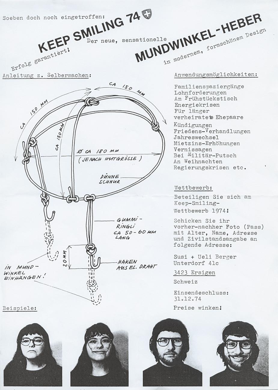 Susi and Ueli Berger: Instructions Keep Smiling (1974), Museum für Gestaltung Zürich, Designsammlung