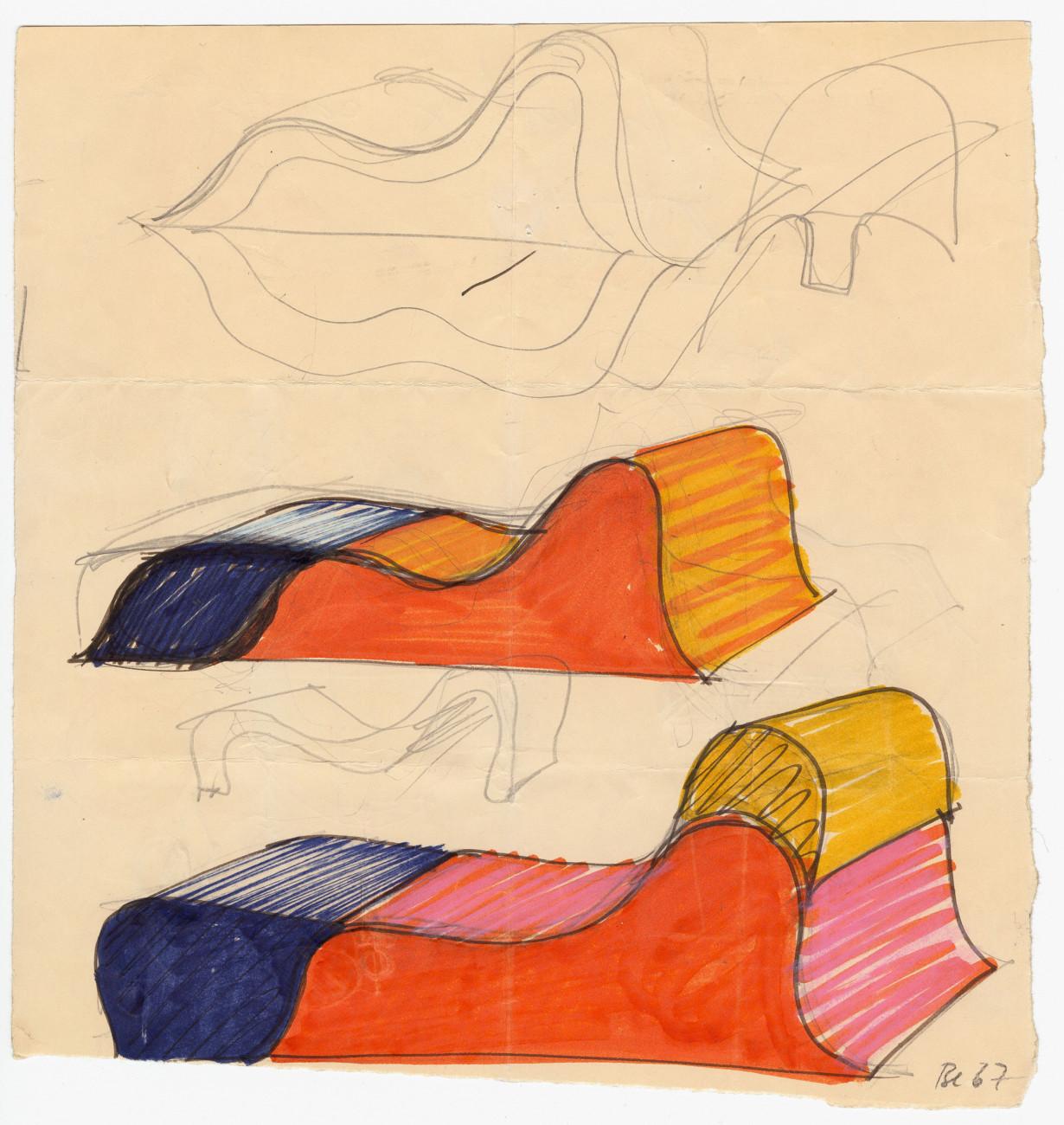 Susi and Ueli Berger: Sketches Soft Chair (1967–1968), Museum für Gestaltung Zürich, Designsammlung