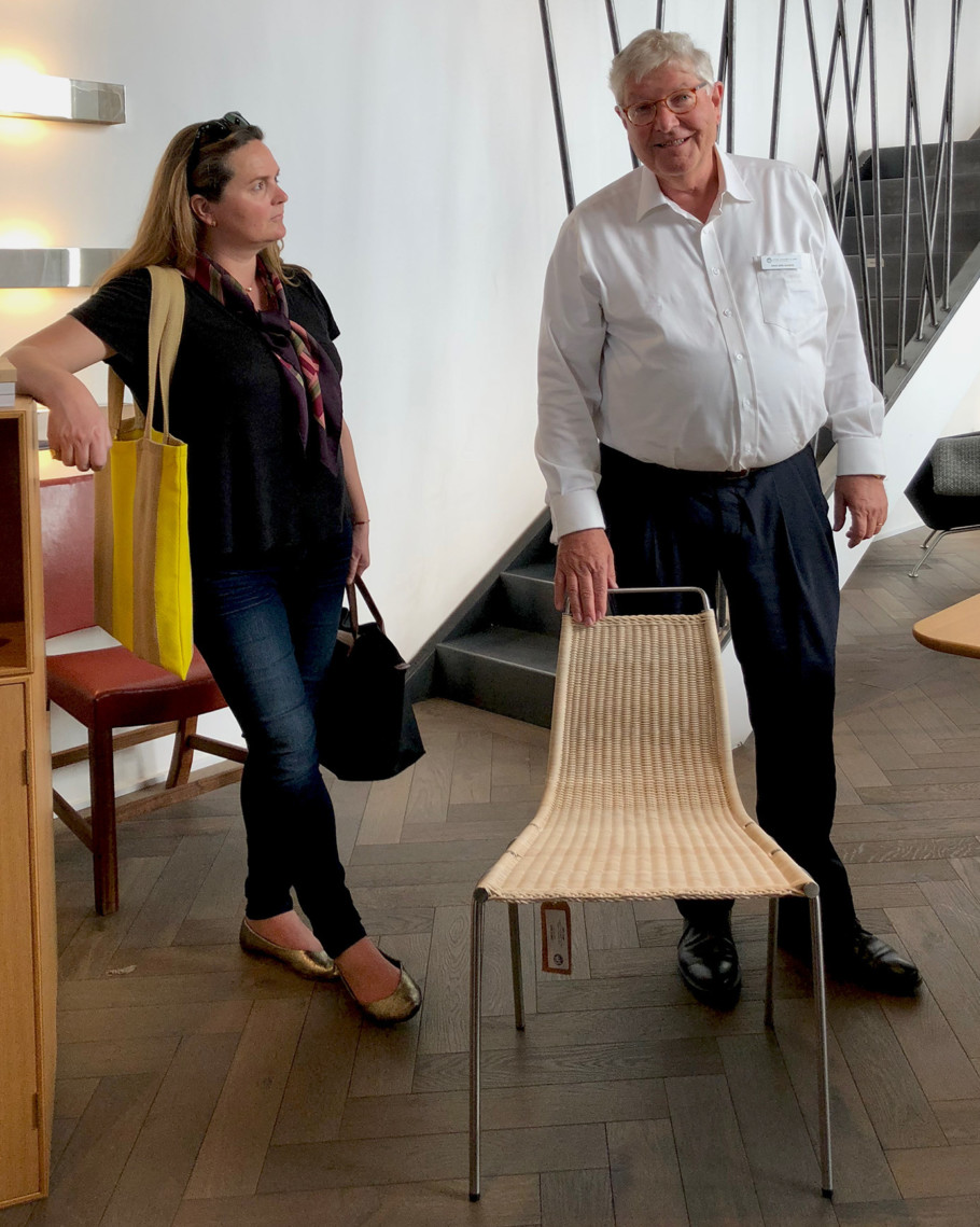 Knud Erik Hansen leads through the showroom of Carl Hansen & Søn