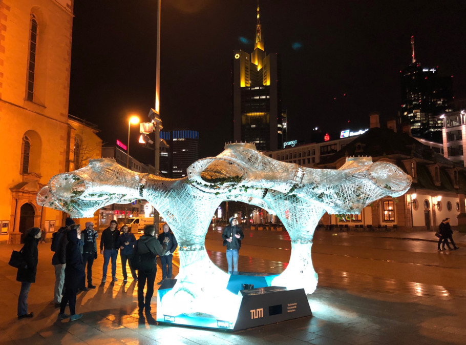 """""""Urban Climate Canopy"""", developed by master students of the Technical University of Munich, is intended as an installation, canopy and street furniture that creates space and modulates the climate in public spaces."""