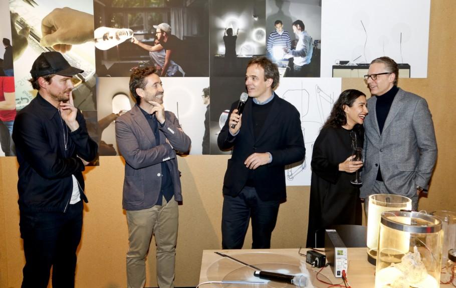 Light + Building 2018, Vibia Event, e15, Stefan Diez, Stylepark, Stefan Diez, Pere Llonch (Vibia), Philipp Mainzer (e15), Farah Ebrahimi (e15), Robert Volhard (Stylepark)