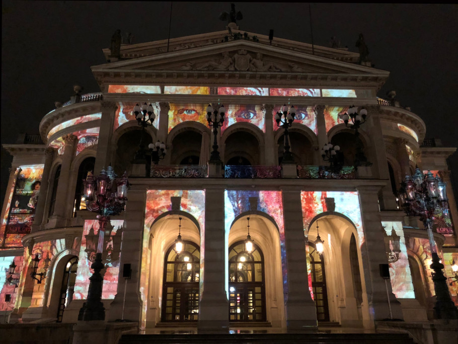"""""""Changing Times"""" by design collective Karmachina uses five chapters of graphic animations and video streams to tell the eventful history of the Alte Oper."""