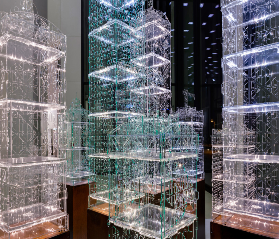 """""""Flexipolis"""" by Tobias Zaft assembles ten high-rise sculptures into an illuminated cityscape. Visitors can interactively influence the light animation with their smartphones."""