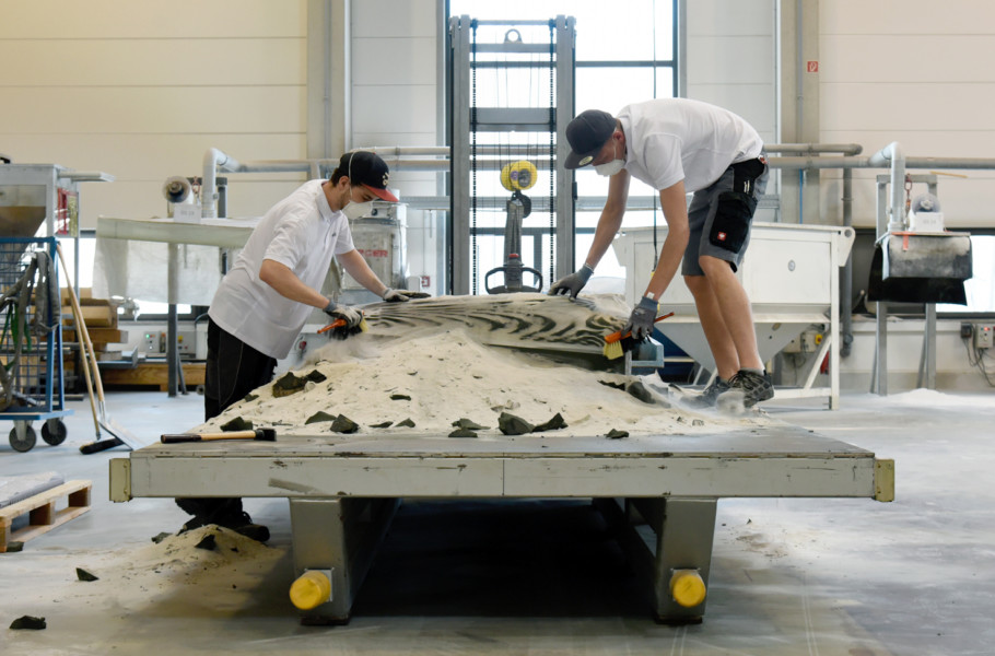 The 3D sand printer used for the fabrication of the formwork.The printer has a build volume of 8 cubic meters and a resolution of a fraction of a millimeter.
