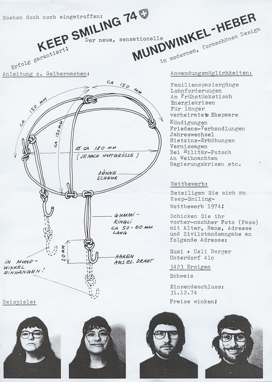 Susi und Ueli Berger, Gebrauchsanleitung Keep Smiling,1974, Museum für Gestaltung Zürich, Designsammlung, Foto: © ZHdK