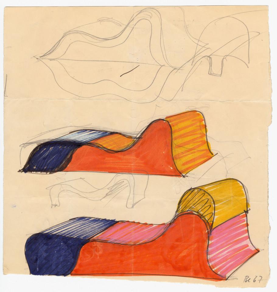 Susi und Ueli Berger, Skizzen zu Soft Chair,1967–1968, Museum für Gestaltung Zürich, Designsammlung, Foto: © ZHdK