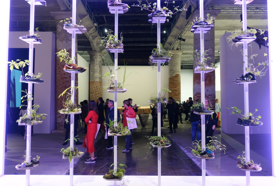 Who needs flower pots any more: Today, sneakers are probably more beautiful than the Nike of Samothrace. Michel Blazy used them to pot plants and create a miniature garden in the middle of the Arsenale.