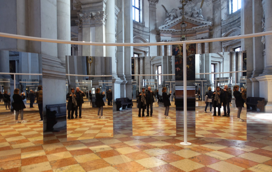 "One plus one is three: In the Basilica San Giorgio Maggiore and the Benedict Abbey round it there is a noteworthy retrospective of works by Michelangelo Pistoletto – including the kaleidoscopic cabinet of mirrors called ""Suspended Perimeter – Love Difference""."