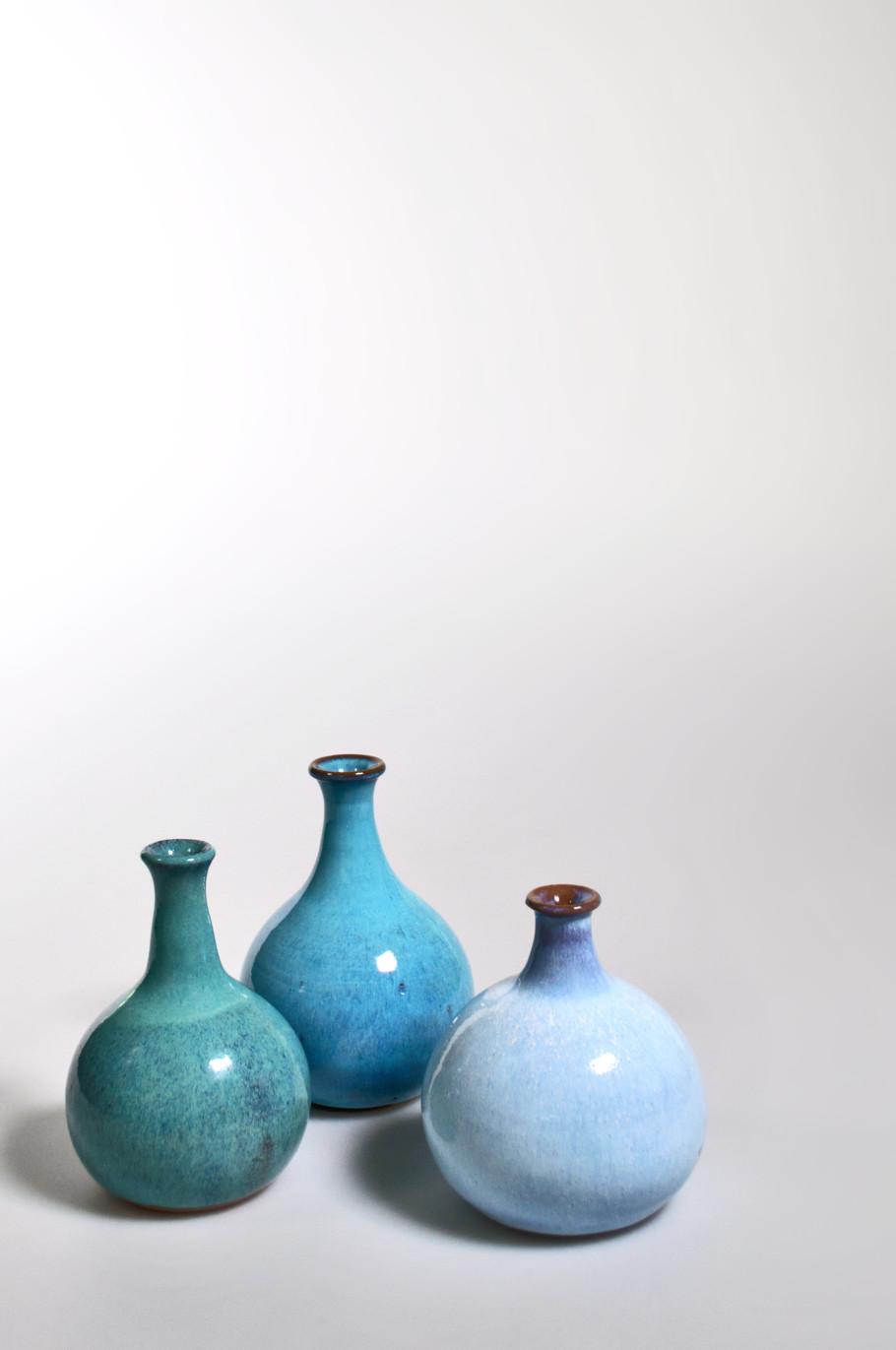 Kleine Ballonflaschen, Feinsteinzeug freigedreht und glasiert (1965–1980)