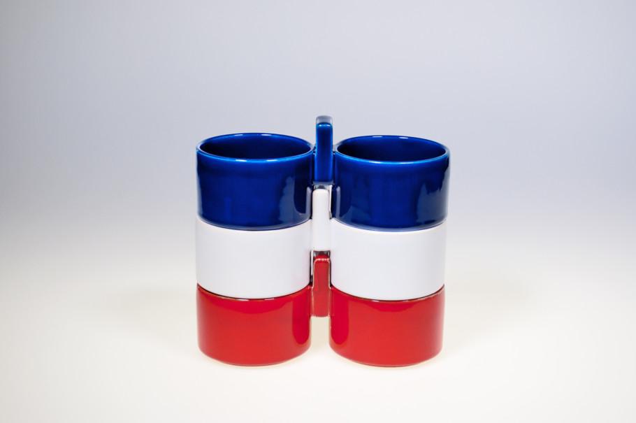 Doppelschale stapelbar, Waechtersbach Keramik, Steingut gegossen und glasiert, Entwurf Lore Kramer (1971)