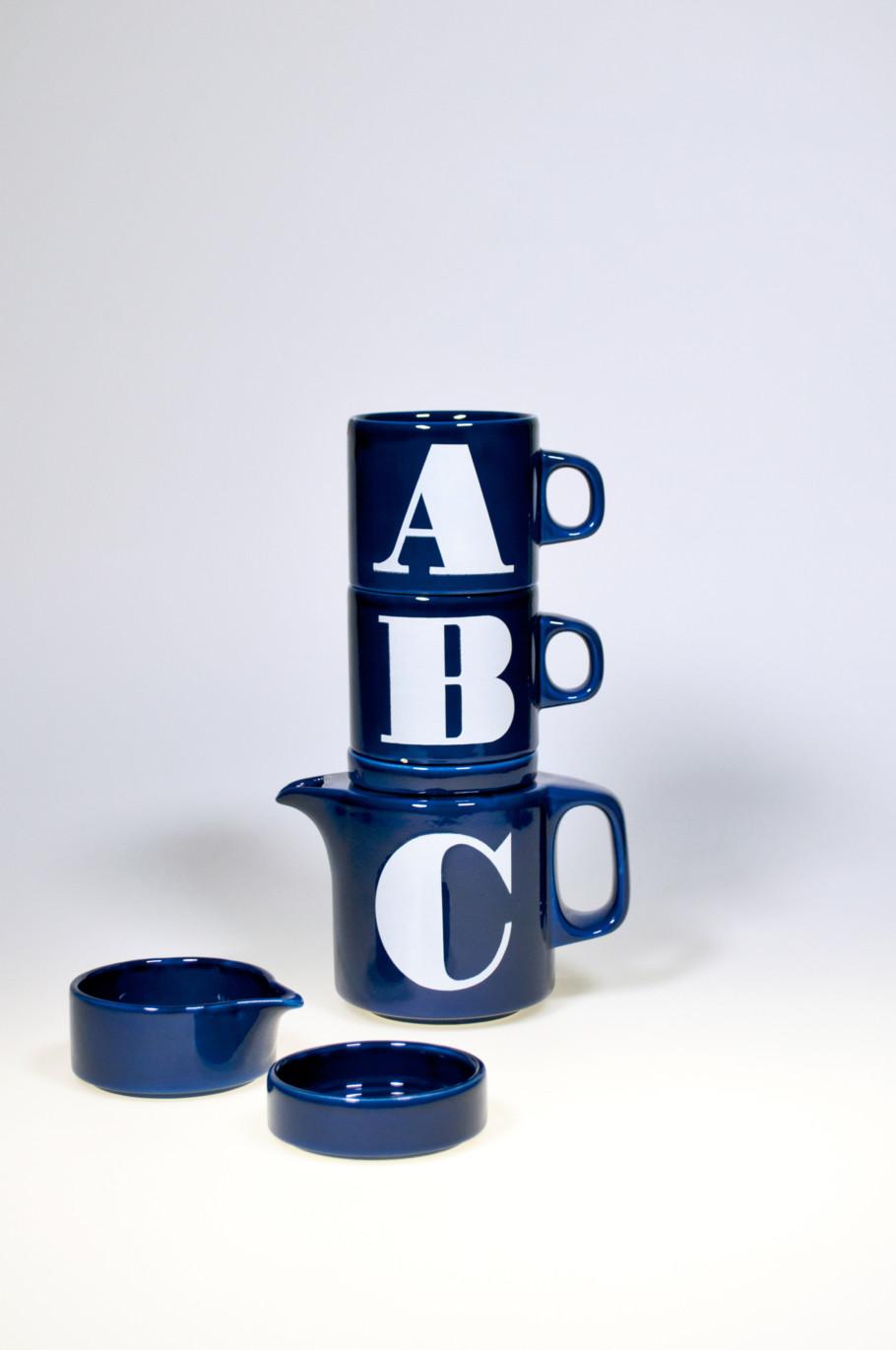 Service ABC, Waechtersbach Keramik, Steingut gegossen und glasiert, Entwurf Lore Kramer (1970/71)