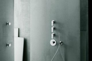 AL/23 Aboutwater Boffi / Fantini 3/4'' built-in thermostatic shower mixer, 3/4'' stop valve, shower arm, Rain showerhead, Lateral body spray  by  Fantini
