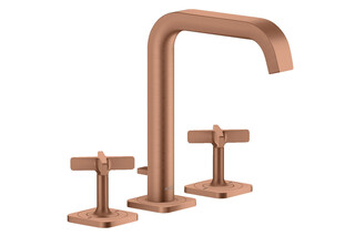 AXOR Citterio E 3-hole basin mixer 170 with escutcheons and pop-up waste set brushed red gold  by  AXOR