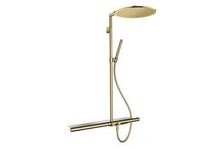 AXOR ShowerSolutions Duschsystem mit Thermostat 800 und Kopfbrause 350 1 Strahlart Polished Gold Optic  von  AXOR