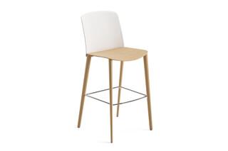 Mixu - Bar stool 4 wood legs  by  Arper
