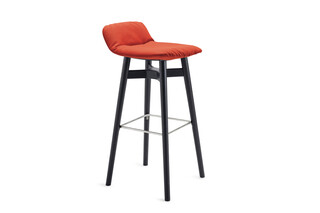 Leya barstool low with wooden x-base frame  by  Freifrau