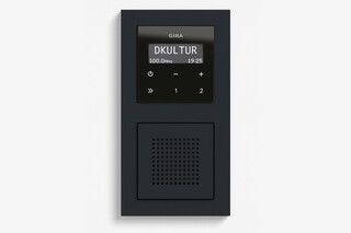 RDS flush-mounted radio with a speaker black glass appearance (including E2)  by  Gira