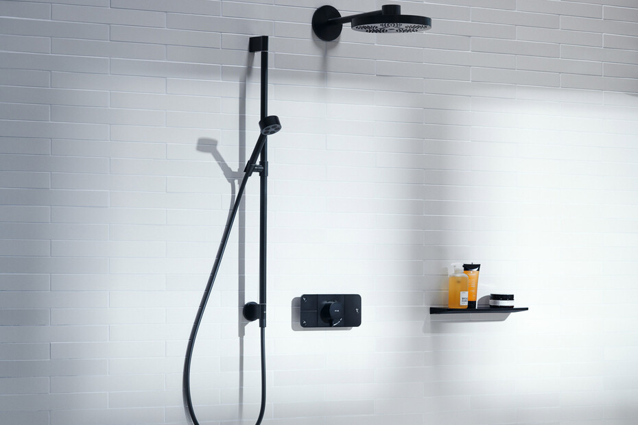 AXOR One Brauseset 75 1 Strahlart EcoSmart mit Wandanschluss Mattschwarz