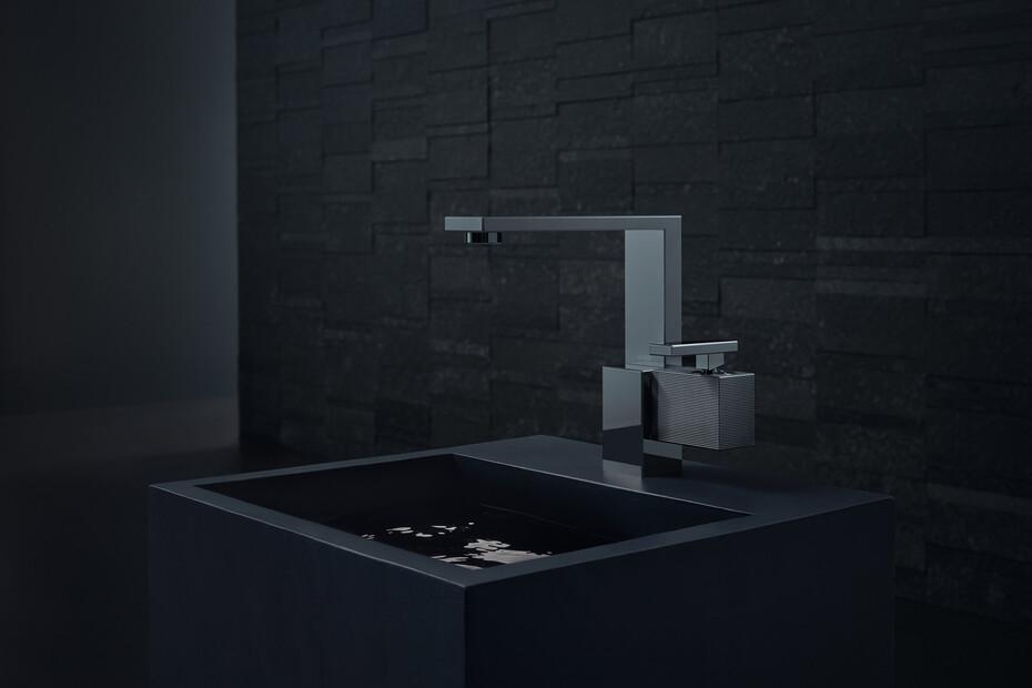 AXOR Edge Single lever basin mixer 190 with push-open waste set - diamond cut Polished Black Chrome