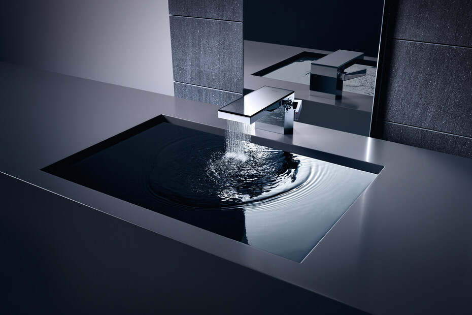 AXOR MyEdition Single lever basin mixer 70 with push-open waste set without plate Polished Black Chrome