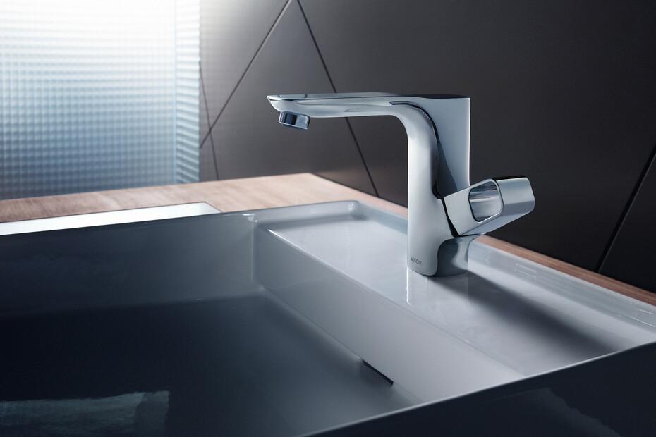 AXOR Urquiola Einhebel-Waschtischmischer 130 mit Zugstangen-Ablaufgarnitur Chrom