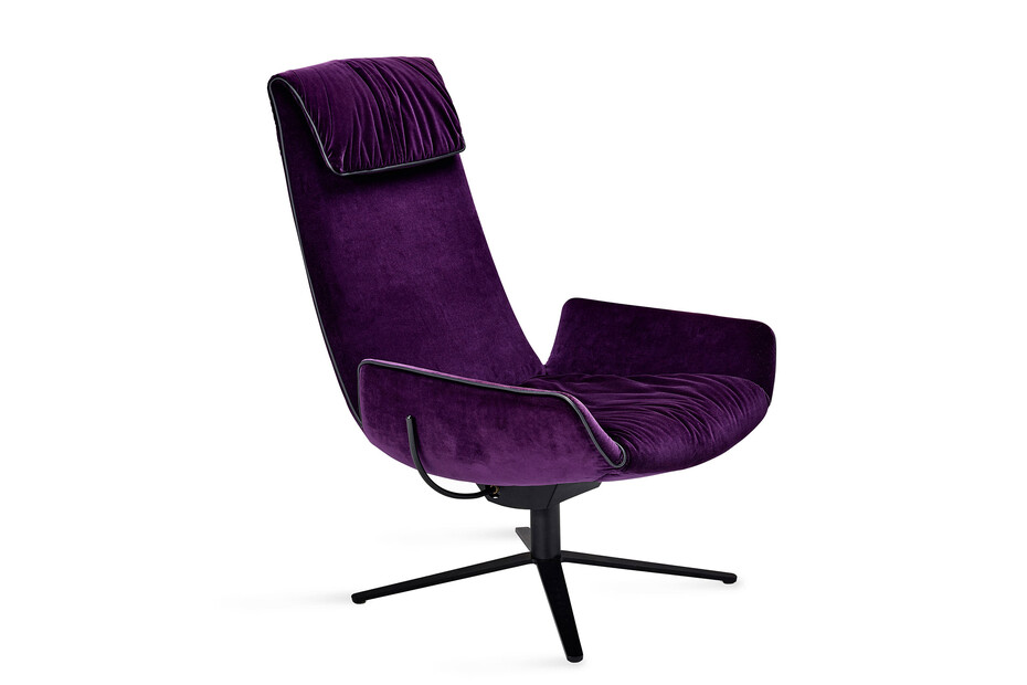 Amelie lounge chair with x-base frame with rocker/tilting mechanism
