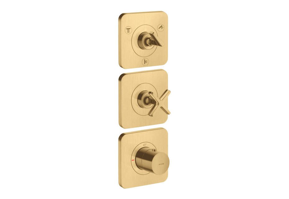 AXOR Citterio E Thermostatic module 380/120 for concealed installation for 3 functions with escutcheons Brushed Gold Optic