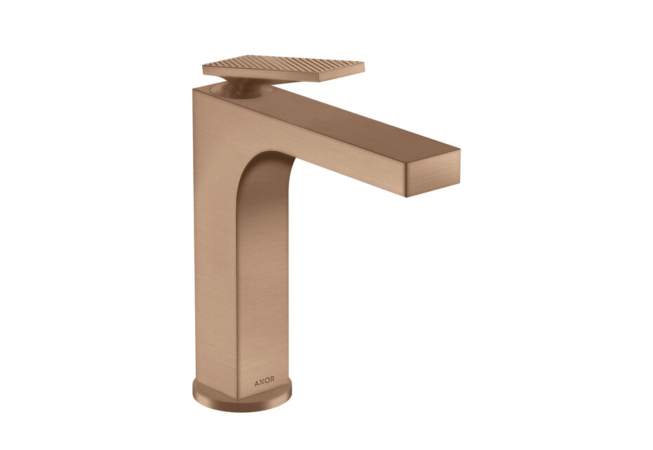 AXOR Citterio Single lever basin mixer 160 with lever handle and pop-up waste set - rhombic cut brushed red gold