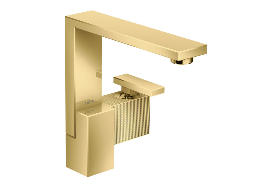 AXOR Edge Single lever basin mixer 190 with push-open waste set - diamond cut Polished Gold Optic