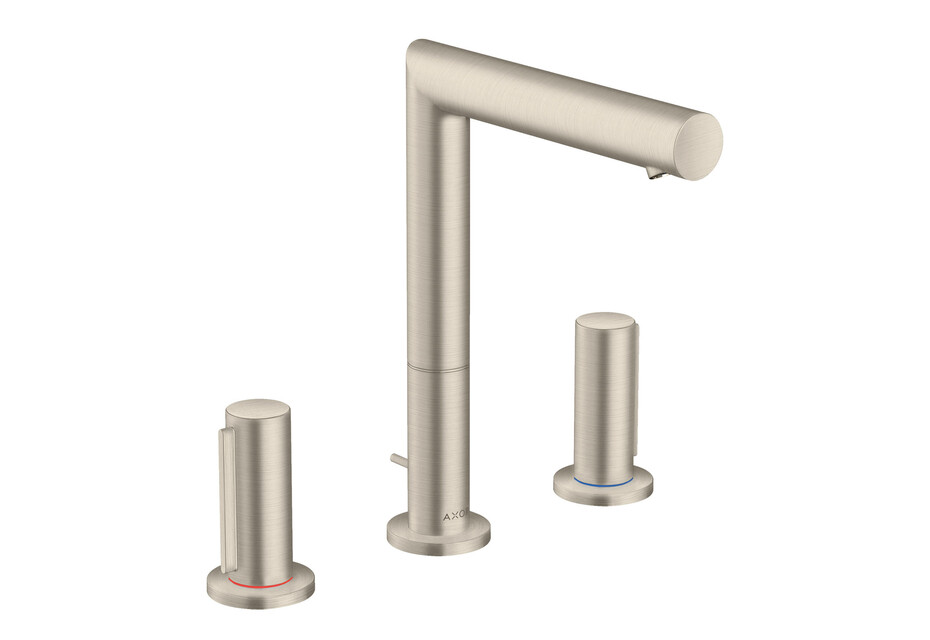 AXOR Uno 3-hole basin mixer 200 with zero handles and pop-up waste set brushed nickel