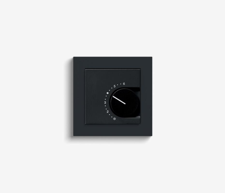 Room temperature controller black matt (including E2)