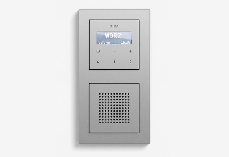 RDS flush-mounted radio with a speaker colour aluminium (including E2)