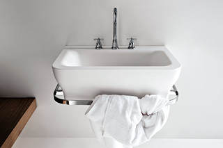 Novecento washbasin with towel rail accessory  by  agape