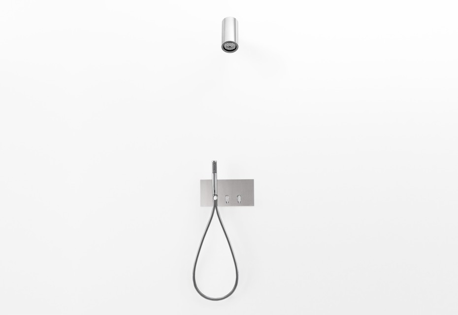 Square shower tap with hand-held shower