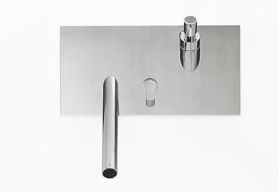 Square washbasin/bidet-set with soap dispenser