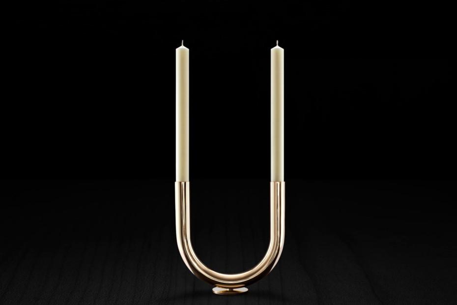 U Candleholder s/s brass