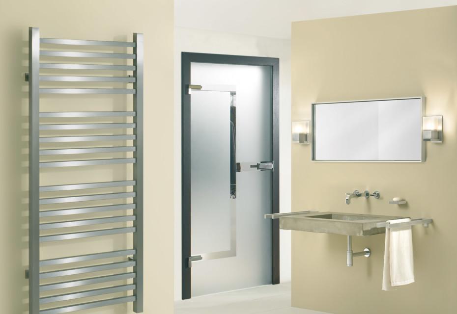 Glass door with MWE door handle Akzent