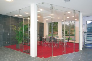Glass door with MWE system Aura  by  Bartels
