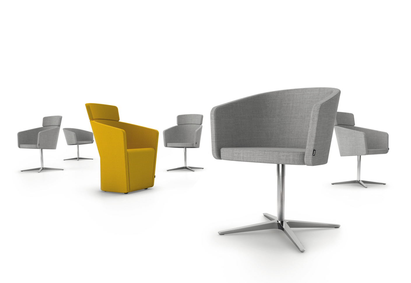 Club Chair With Swivel X Base By Bene Stylepark