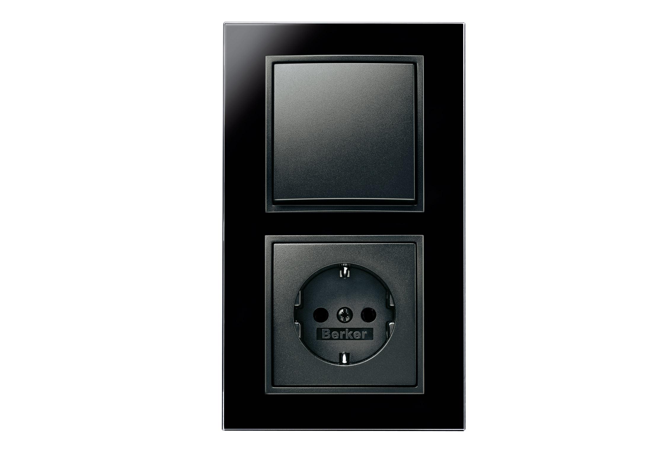 b 7 glas schalter steckdosen kombination von berker. Black Bedroom Furniture Sets. Home Design Ideas