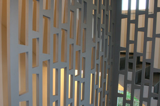 MDF-perforation, stair rail, arpartement house Frauenfeld  by  BRUAG